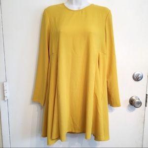 ZARA Woman Yellow Long Sleeve Mini Dress Tunic